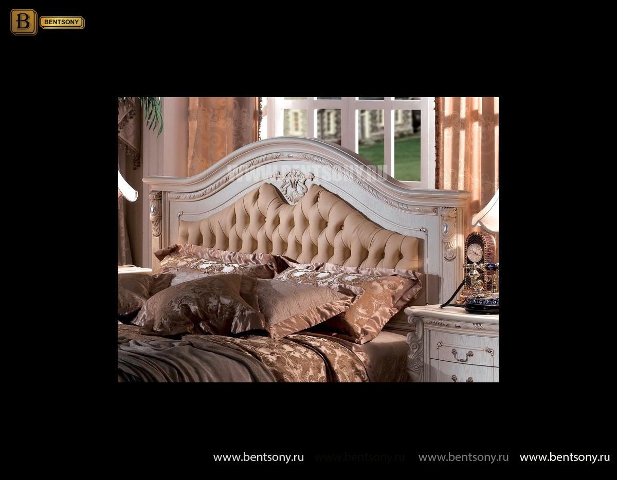 Кровать Вирджиния В (Массив берёзы,натуральная кожа, классика) в СПб
