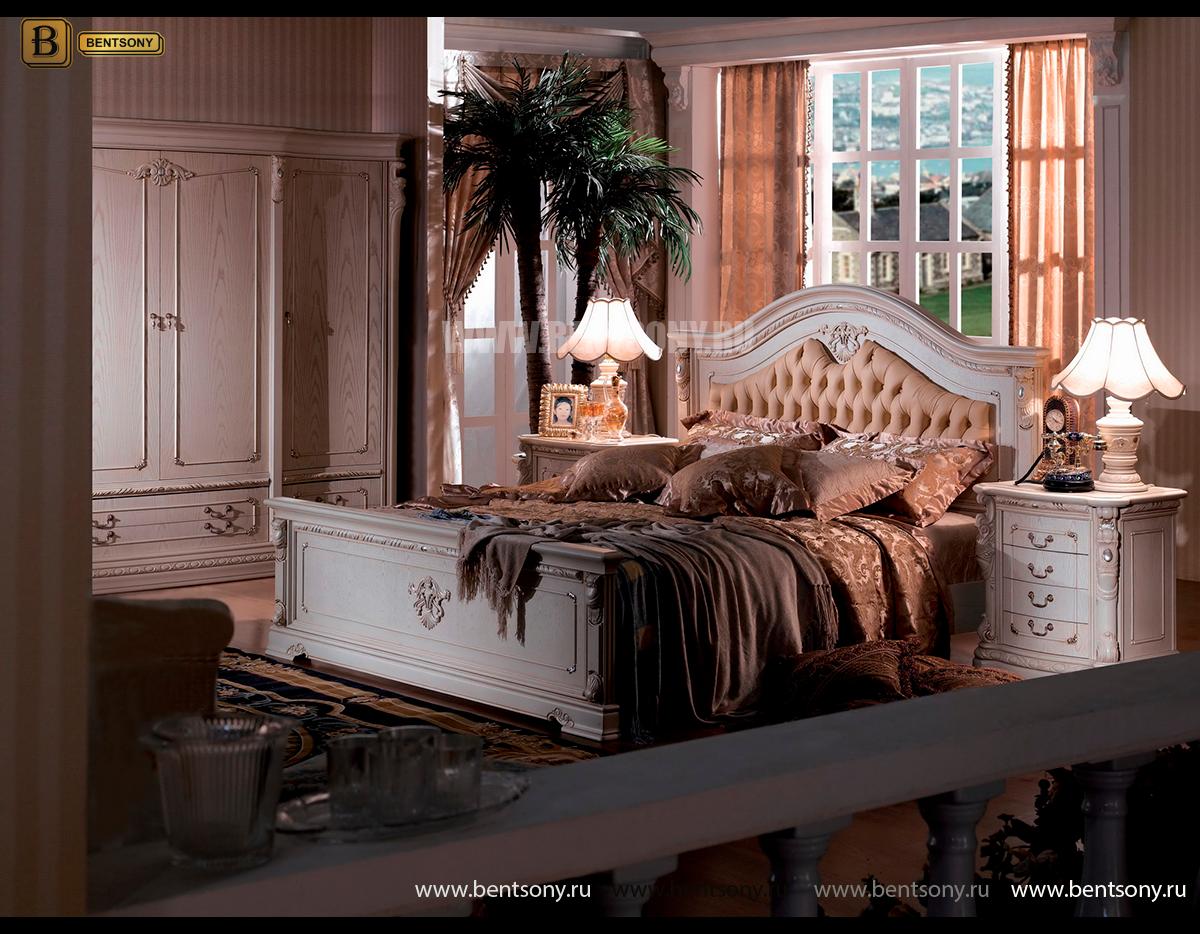 Кровать Вирджиния В (Массив берёзы,натуральная кожа, классика) официальный сайт цены