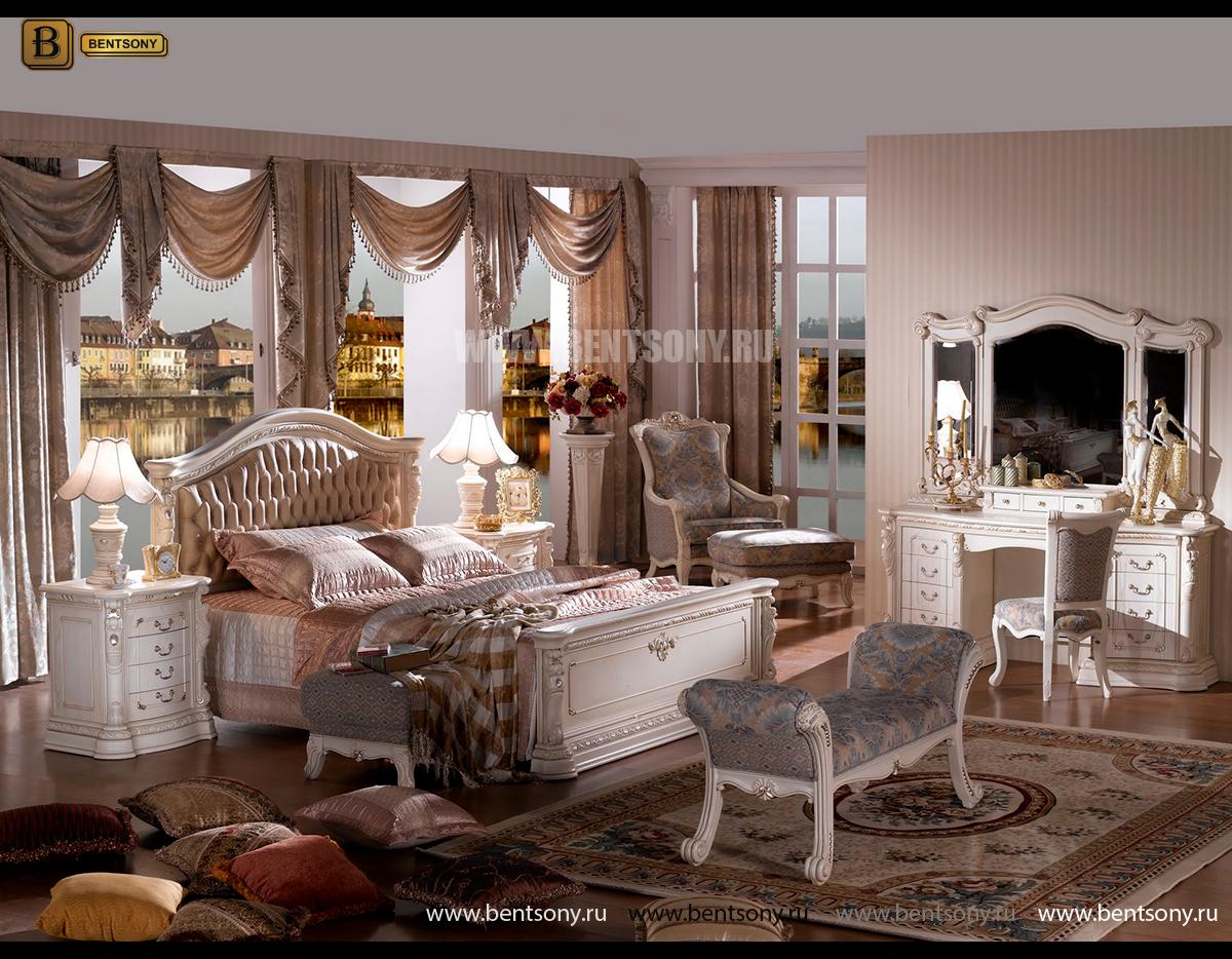 Кровать Вирджиния В (Массив берёзы,натуральная кожа, классика) в Москве
