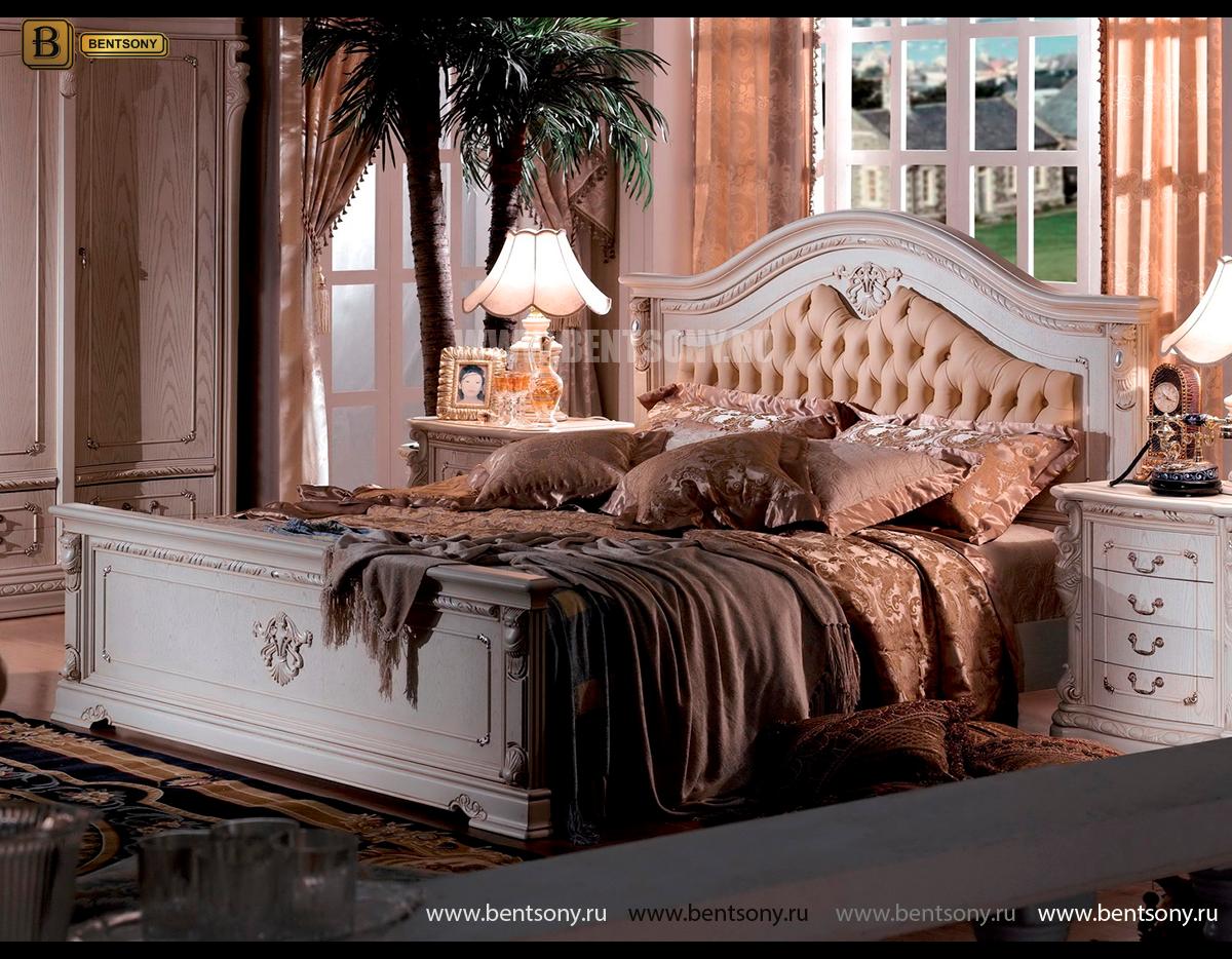 Кровать Вирджиния В (Массив берёзы,натуральная кожа, классика) купить в СПб