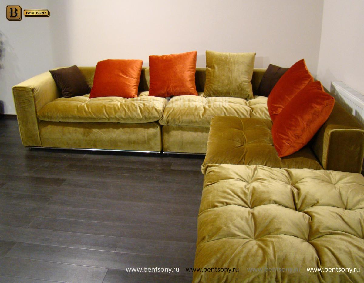 Диван Бениамино, угловой (цвет горчичный) официальный сайт цены