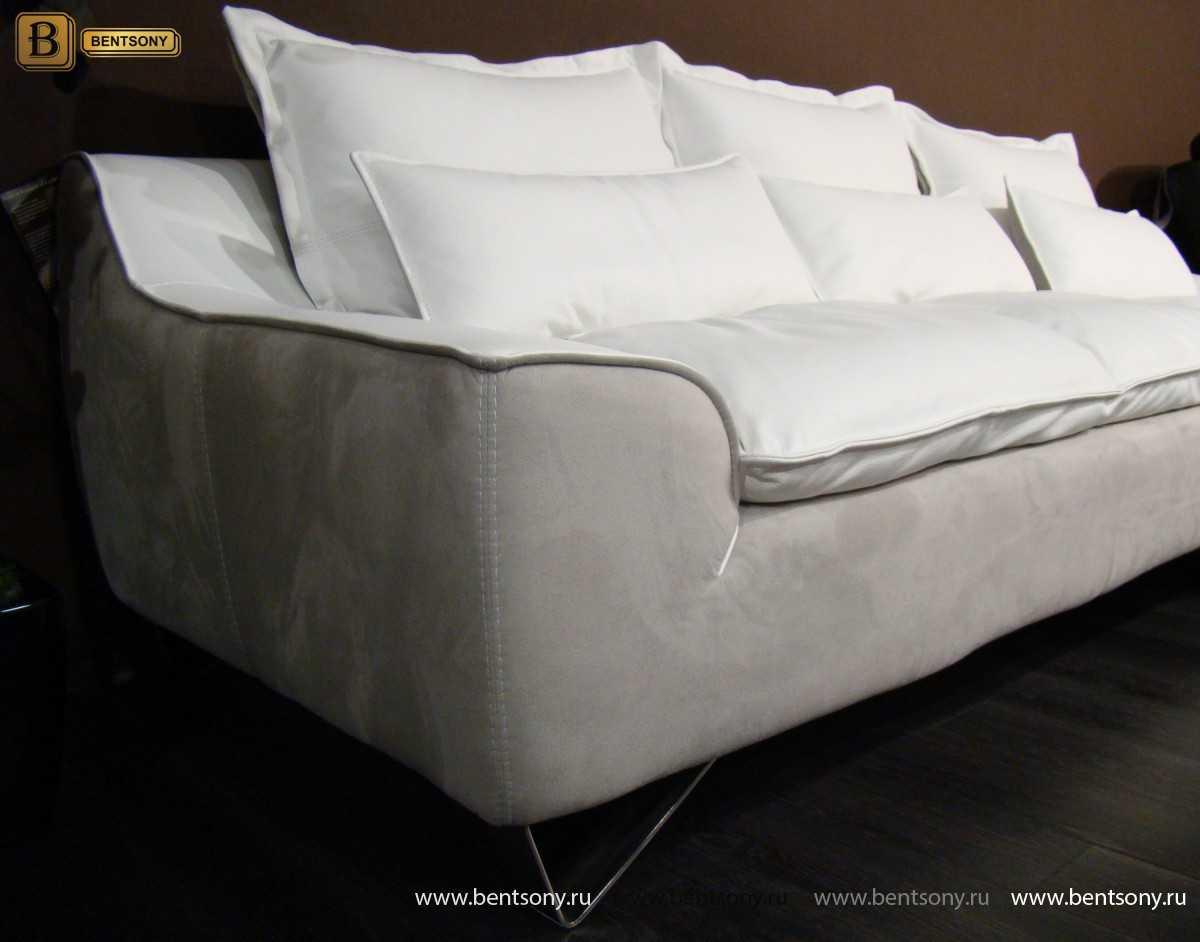 Диван Армандо (Прямой, Натуральная Кожа и Алькантара) каталог мебели с ценами