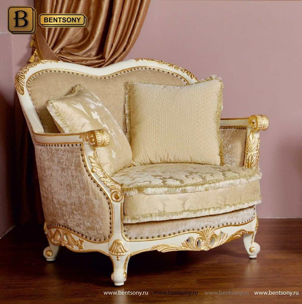 Тканевое белое кресло Амадео