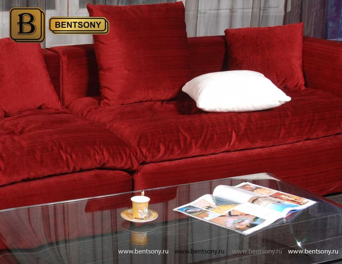 Красный диван Бениамино с подушками