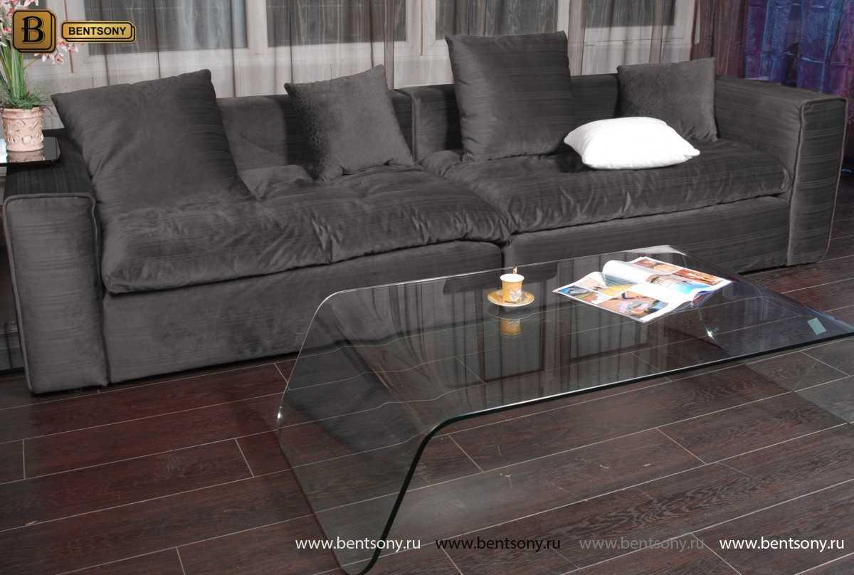 Темно-серый прямой диван Бениамино