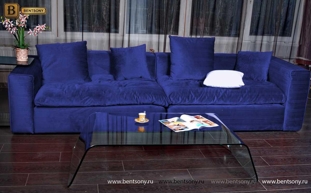 Синий прямой диван Бениамино в интерьере