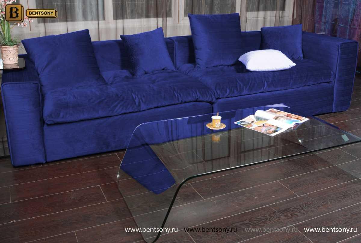 Синий диван Бениамино велюр
