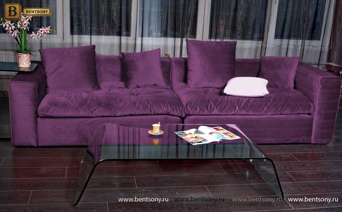 Мягкий прямой диван Бениамино цвет сиреневый