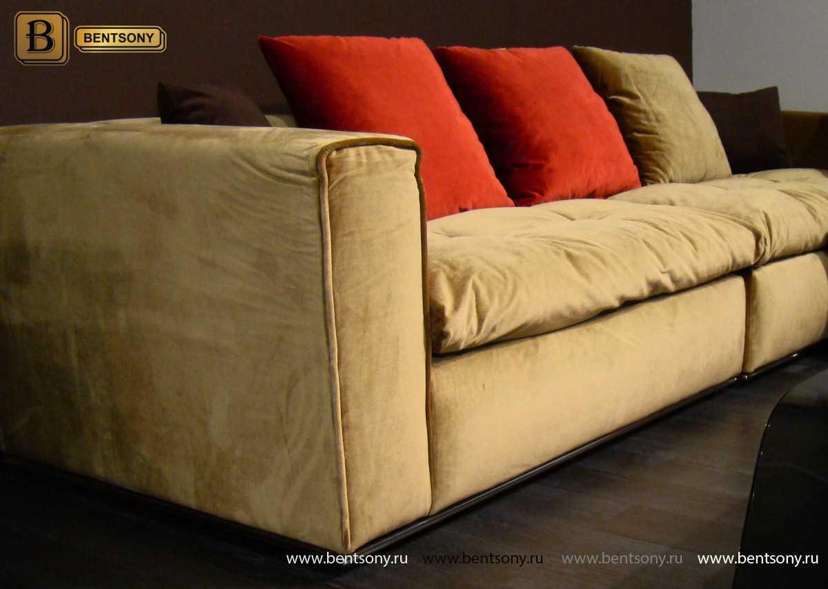 Спальный диван Бениамино с красными подушками