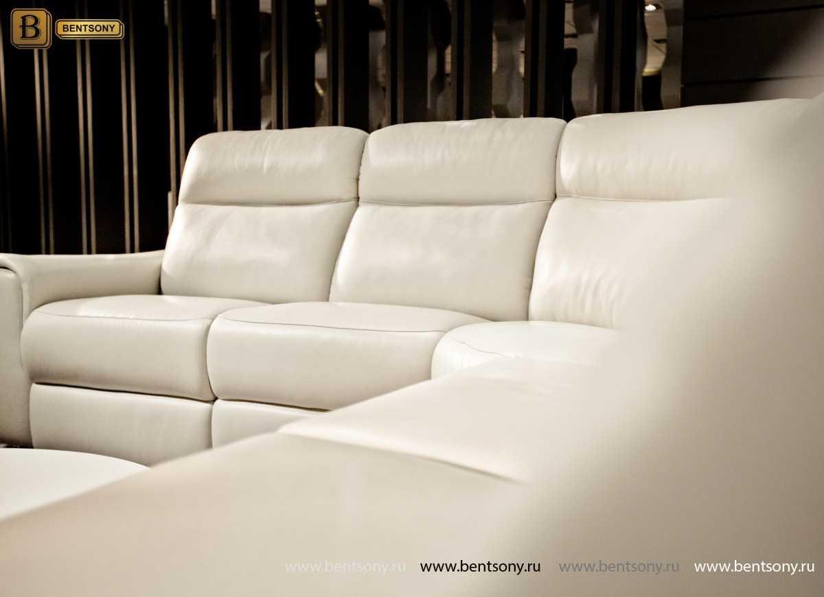 белый кожаный диван Альфредо угловой