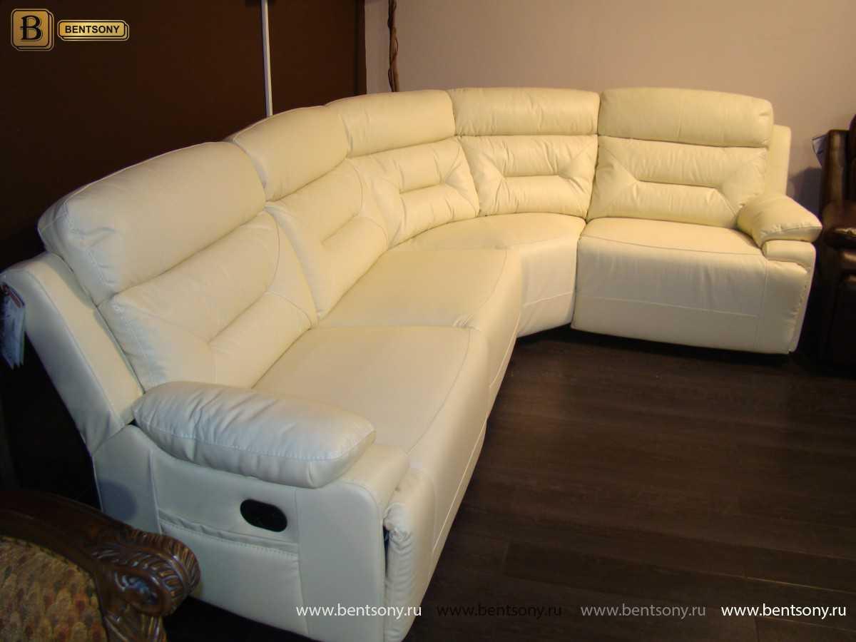 купить кожаный угловой диван белый Амелия