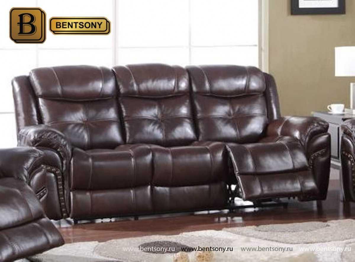 диван из натуральной кожи Динатале прямой