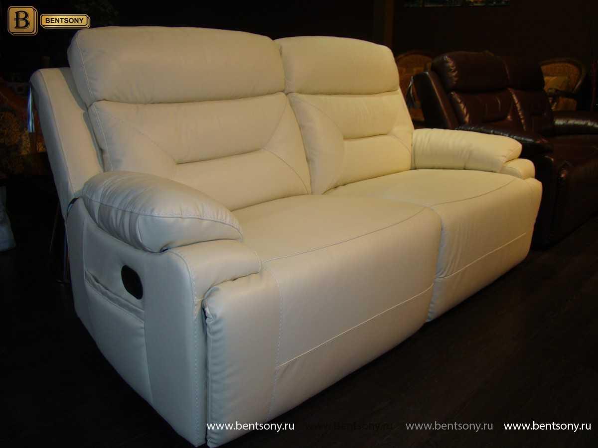 белый кожаный диван Амелия