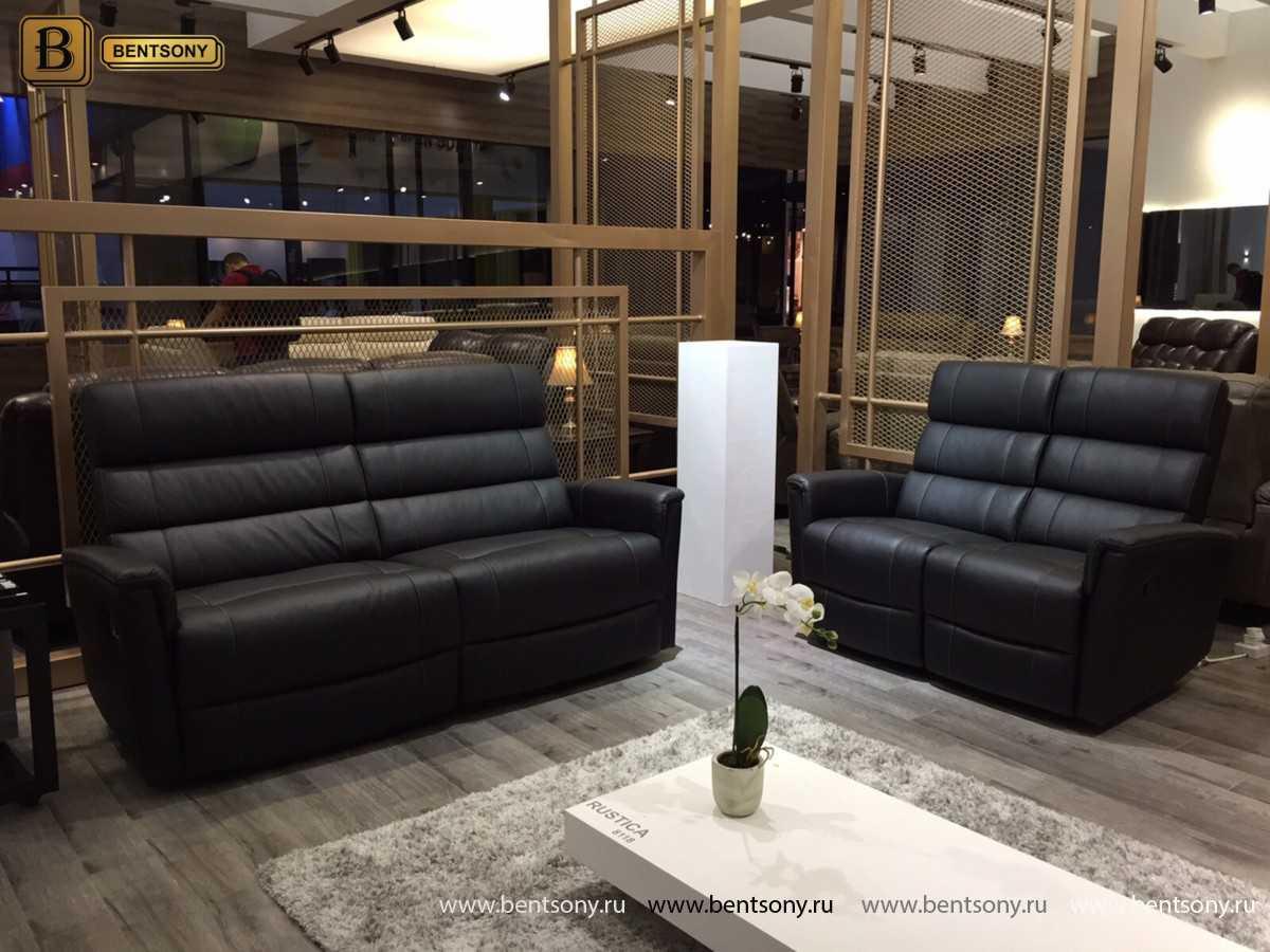купить кожаный прямой диван Рустика