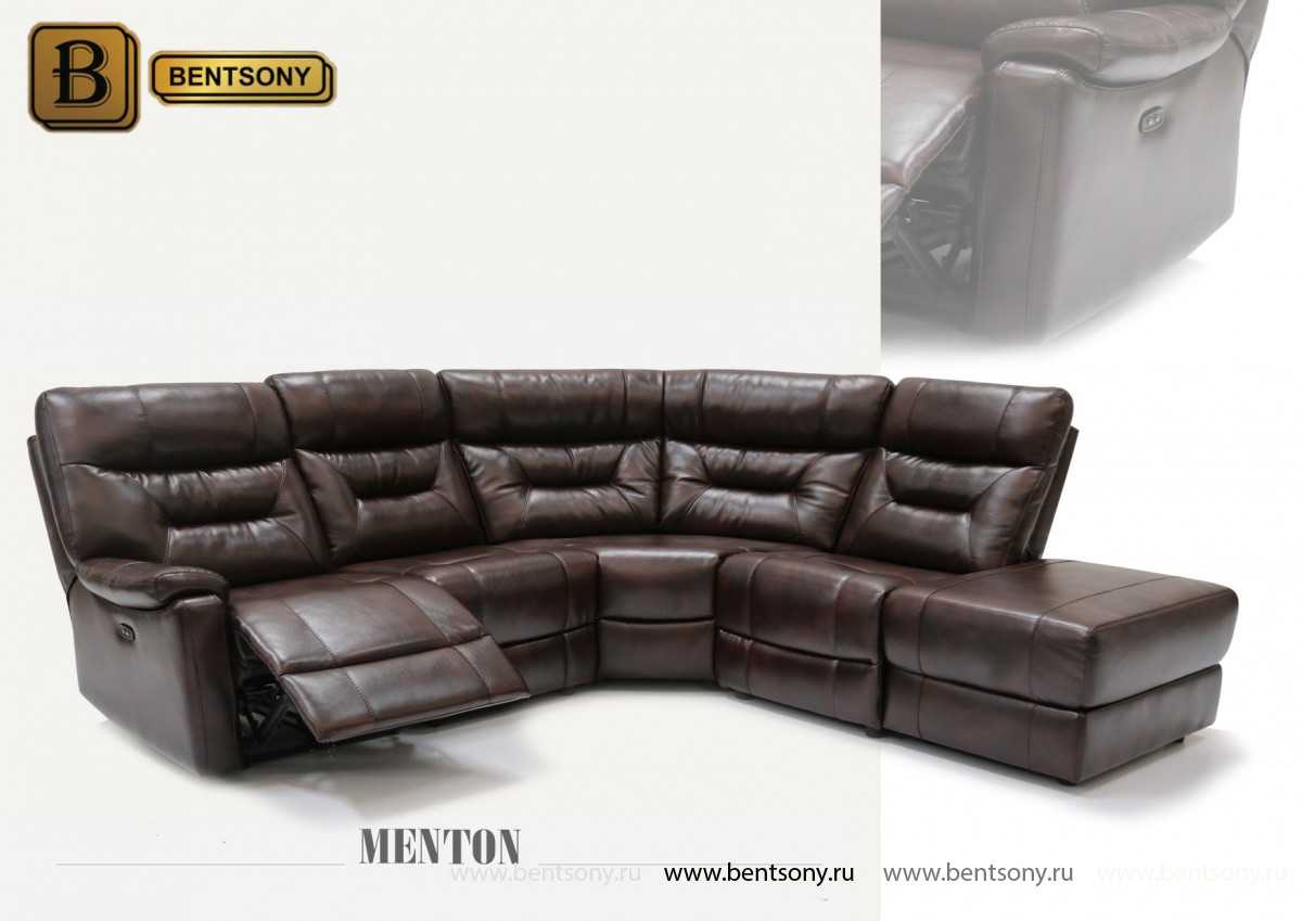 угловой диван Ментон из натуральной кожи