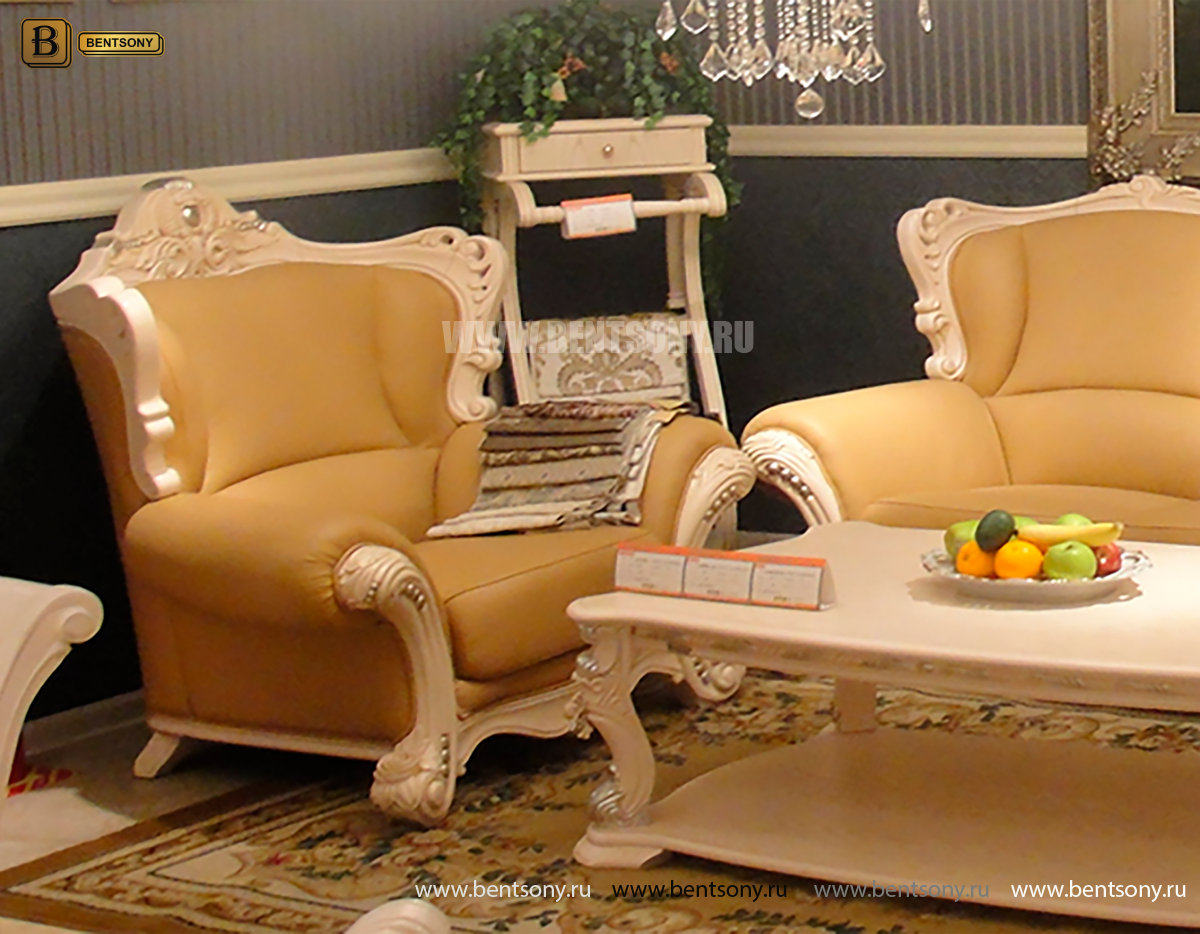 Кресло Вирджиния А (Массив берёзы, натуральная кожа, классика) интернет магазин