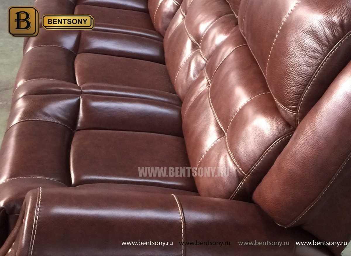 Коричневый кожаный диван прямой Локсли