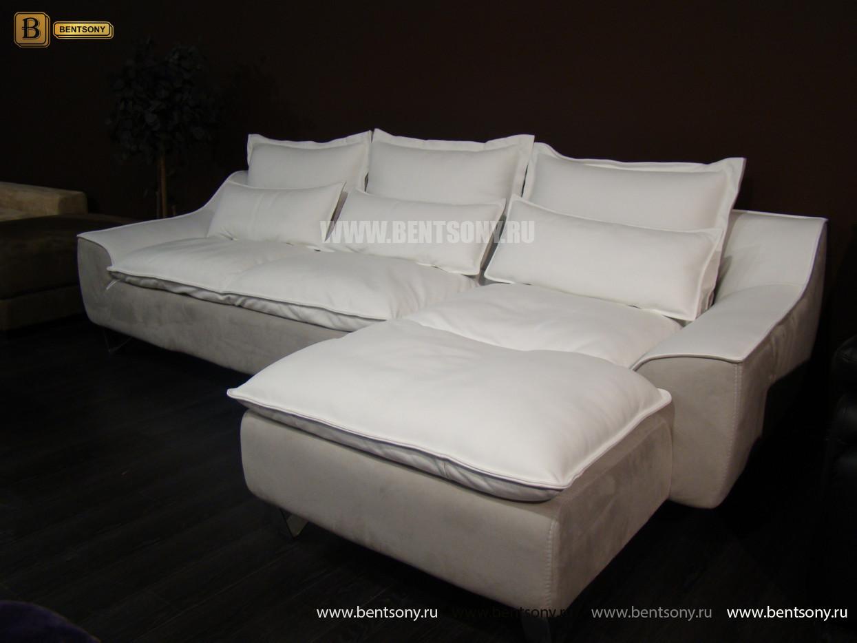 Диван Армандо (Угловой, Кожа и Алькантара) каталог мебели с ценами