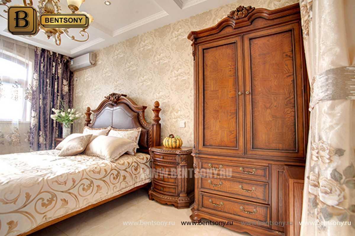 Кровать Монтана B (Классика, массив дерева, кожа) в Москве