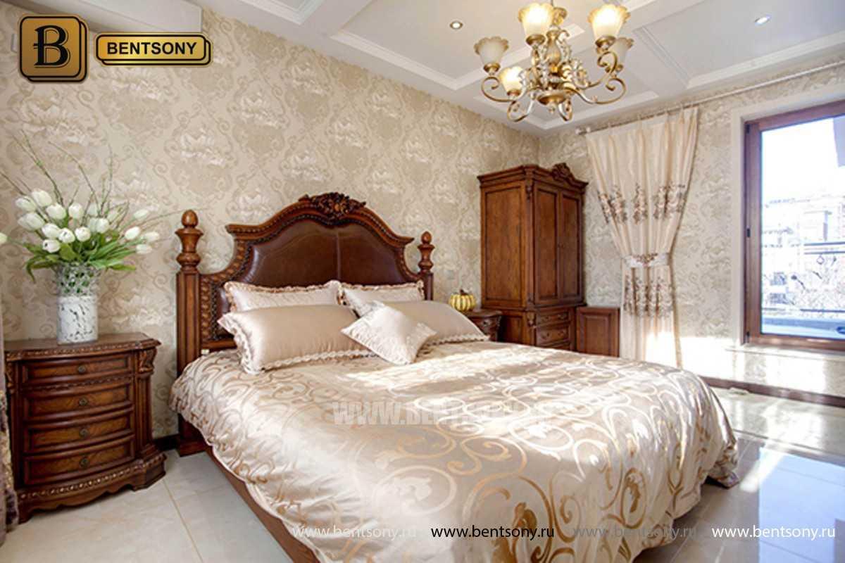 Кровать Монтана B (Классика, массив дерева, кожа) для квартиры