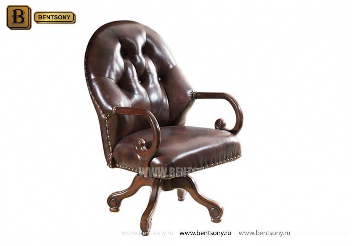 Кресло Крофорд (Вращается, натуральная кожа) для загородного дома