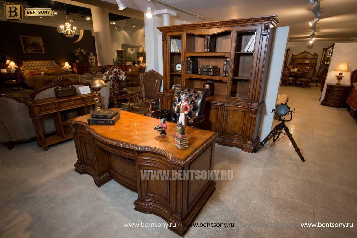 Письменный стол Монтана большой для кабинета (классика, массив дерева) изображение