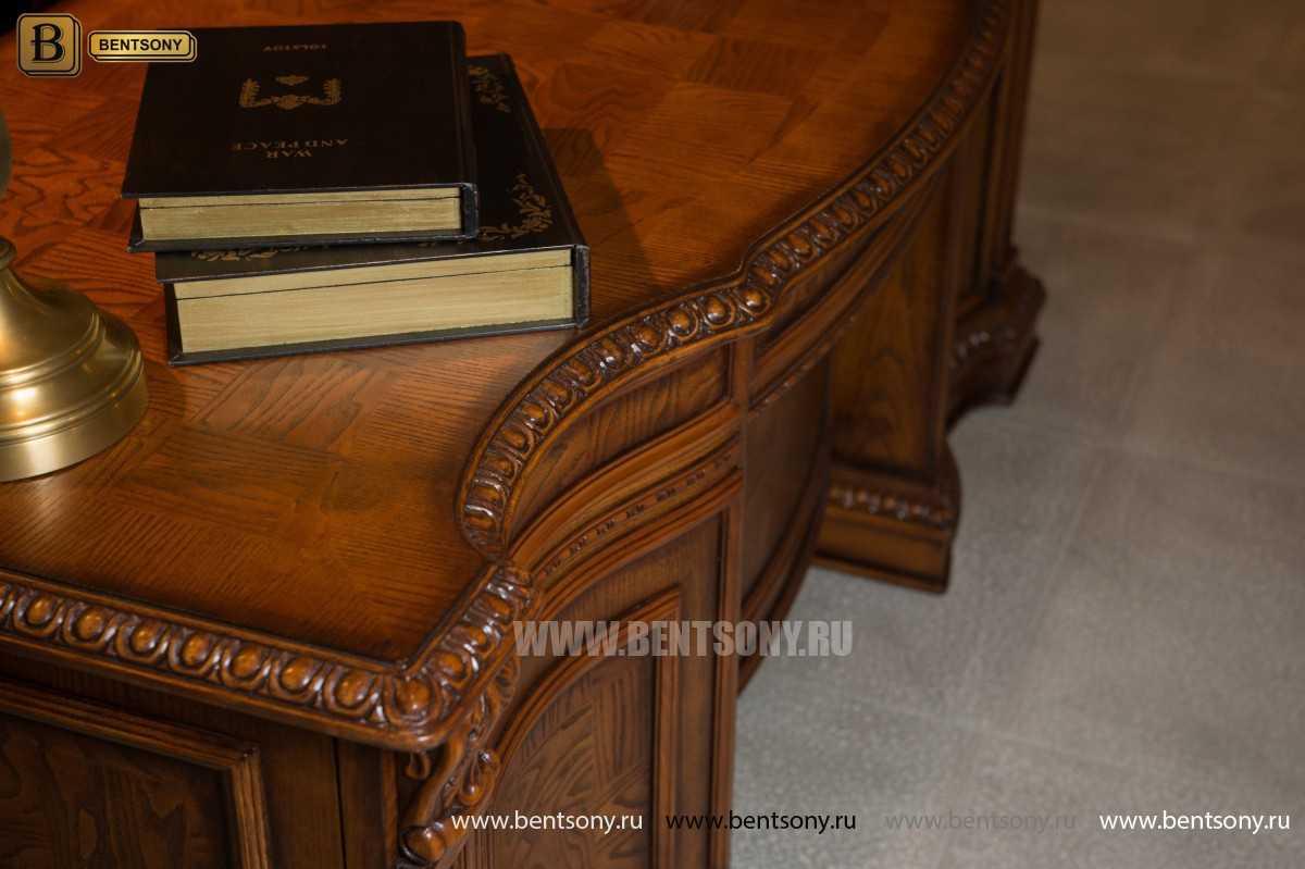Письменный стол Монтана большой для кабинета (классика, массив дерева) каталог мебели