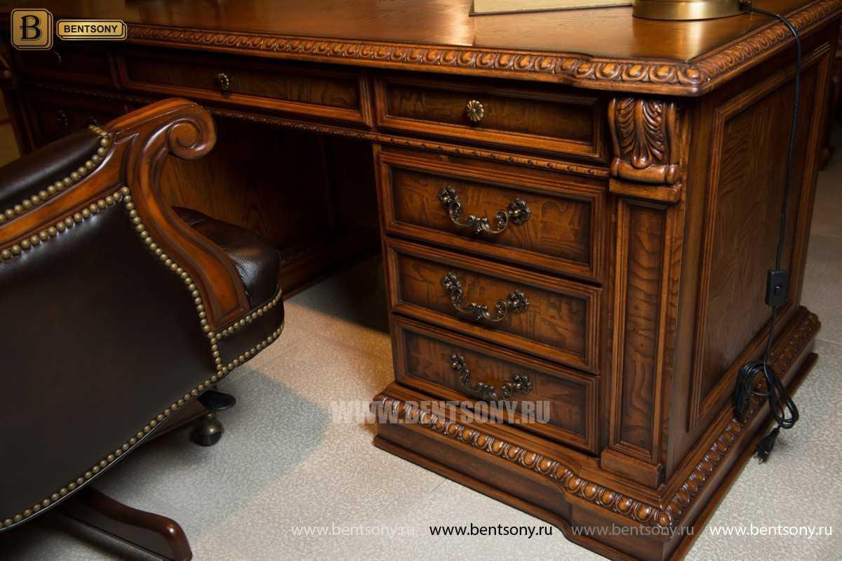 Письменный стол Монтана большой для кабинета (классика, массив дерева) купить в СПб
