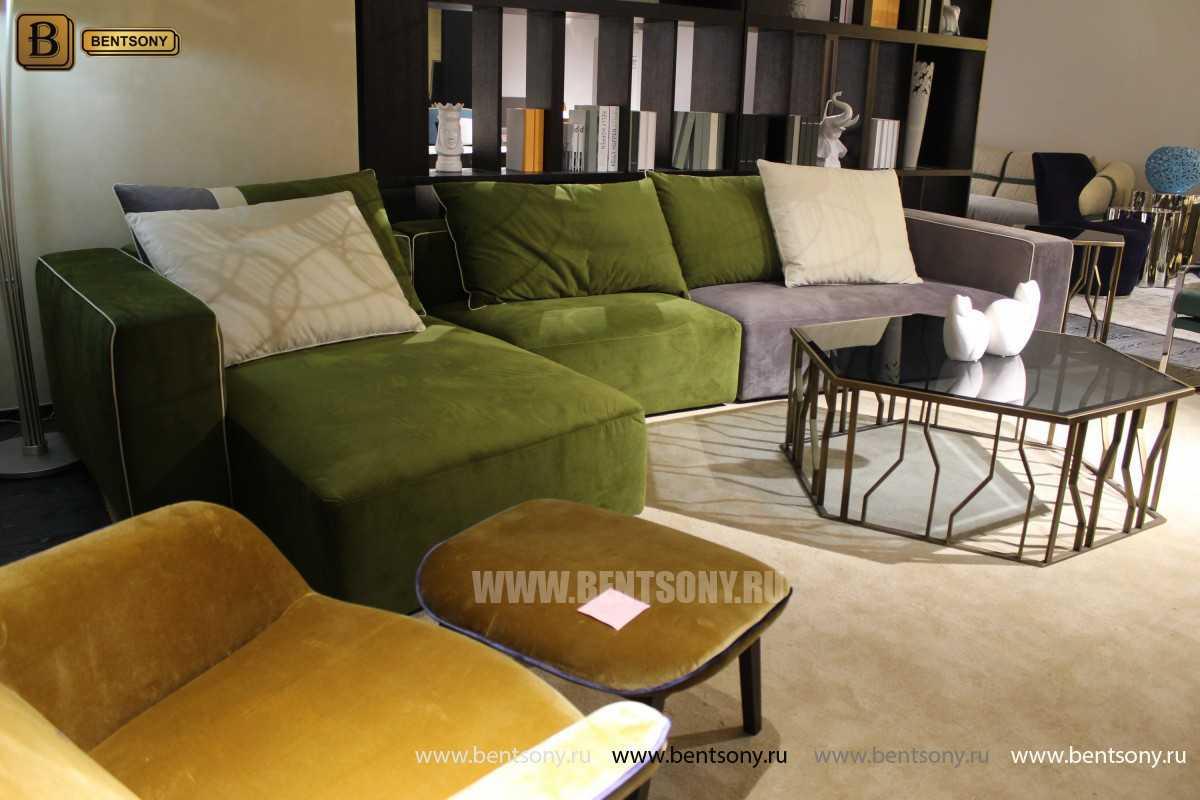 Диван Жиральдо (С Шезлонгом, Велюр) каталог мебели с ценами