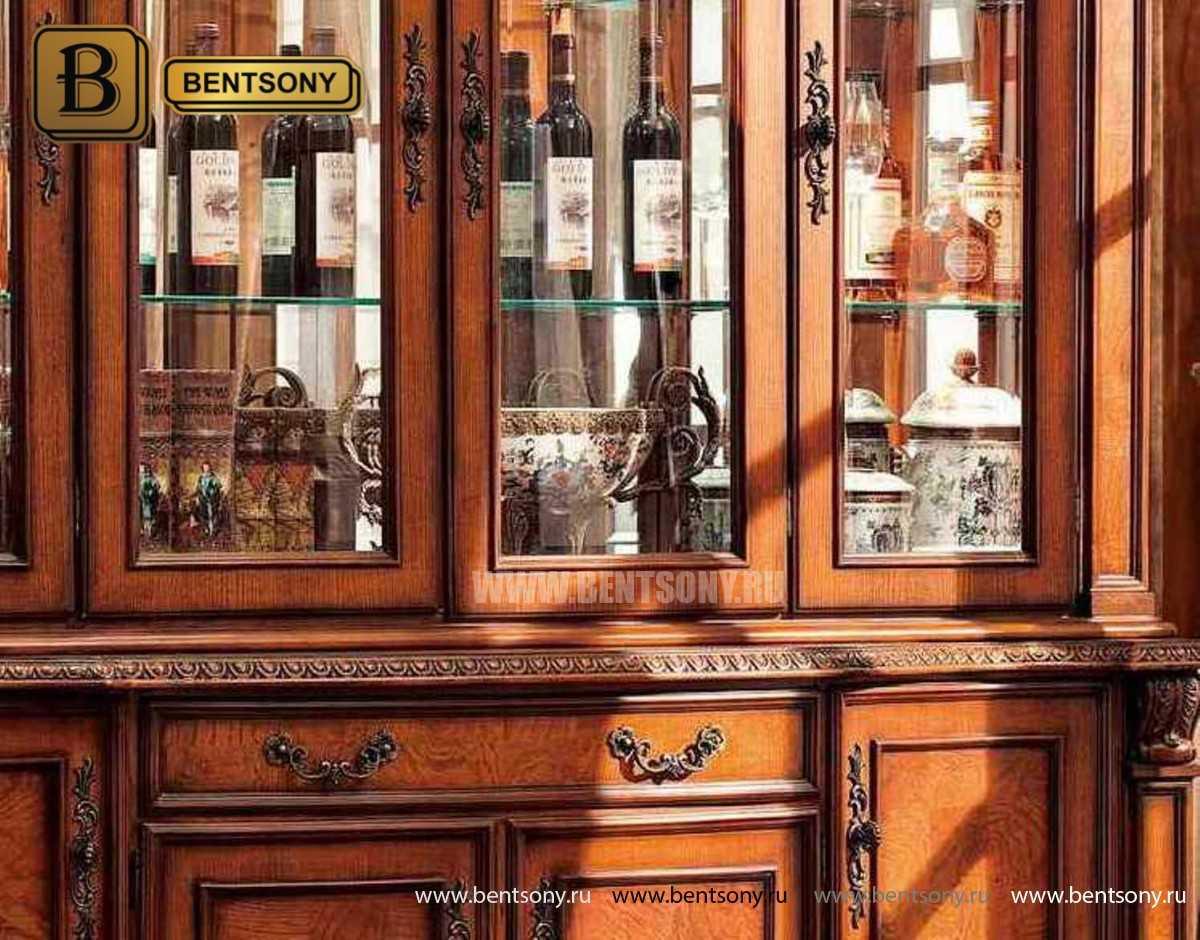 Витрина 4-х дверная Монтана (Массив дерева, классика) каталог мебели с ценами