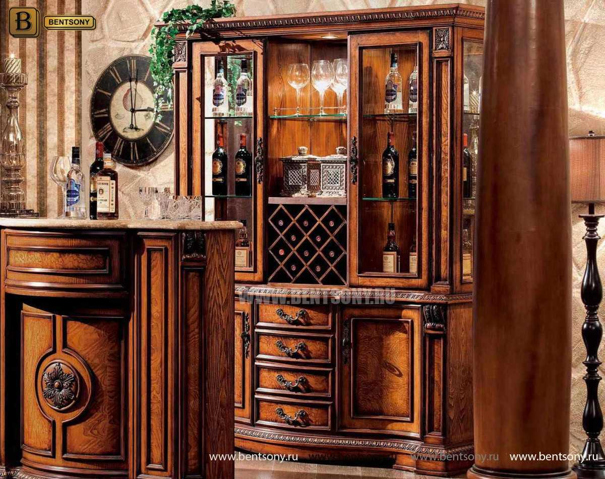 Барный шкаф 3-х дверный Монтана (Классика, массив дерева) магазин Москва