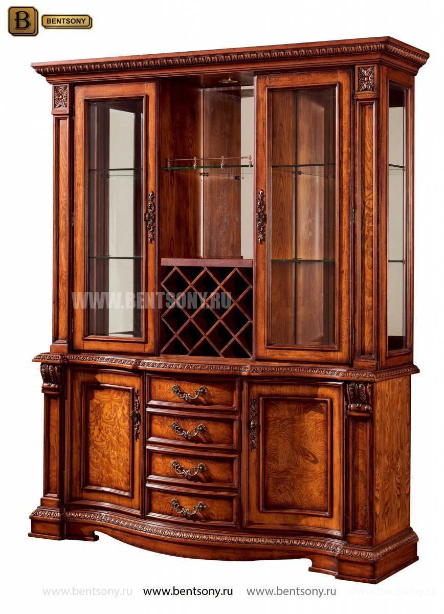 Барный шкаф 3-х дверный Монтана (Классика, массив дерева) купить