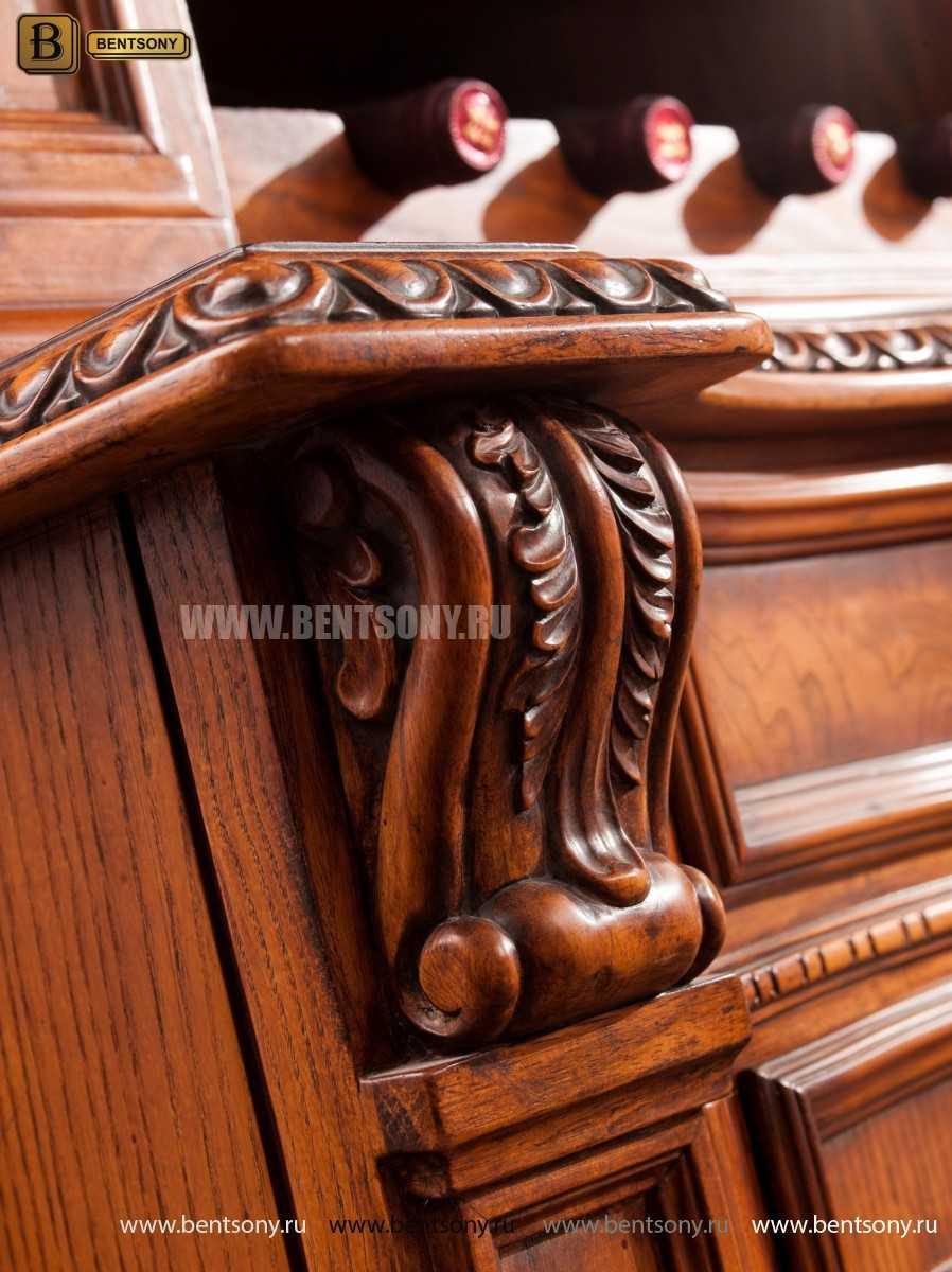 Барный шкаф 3-х дверный Монтана (Классика, массив дерева) распродажа