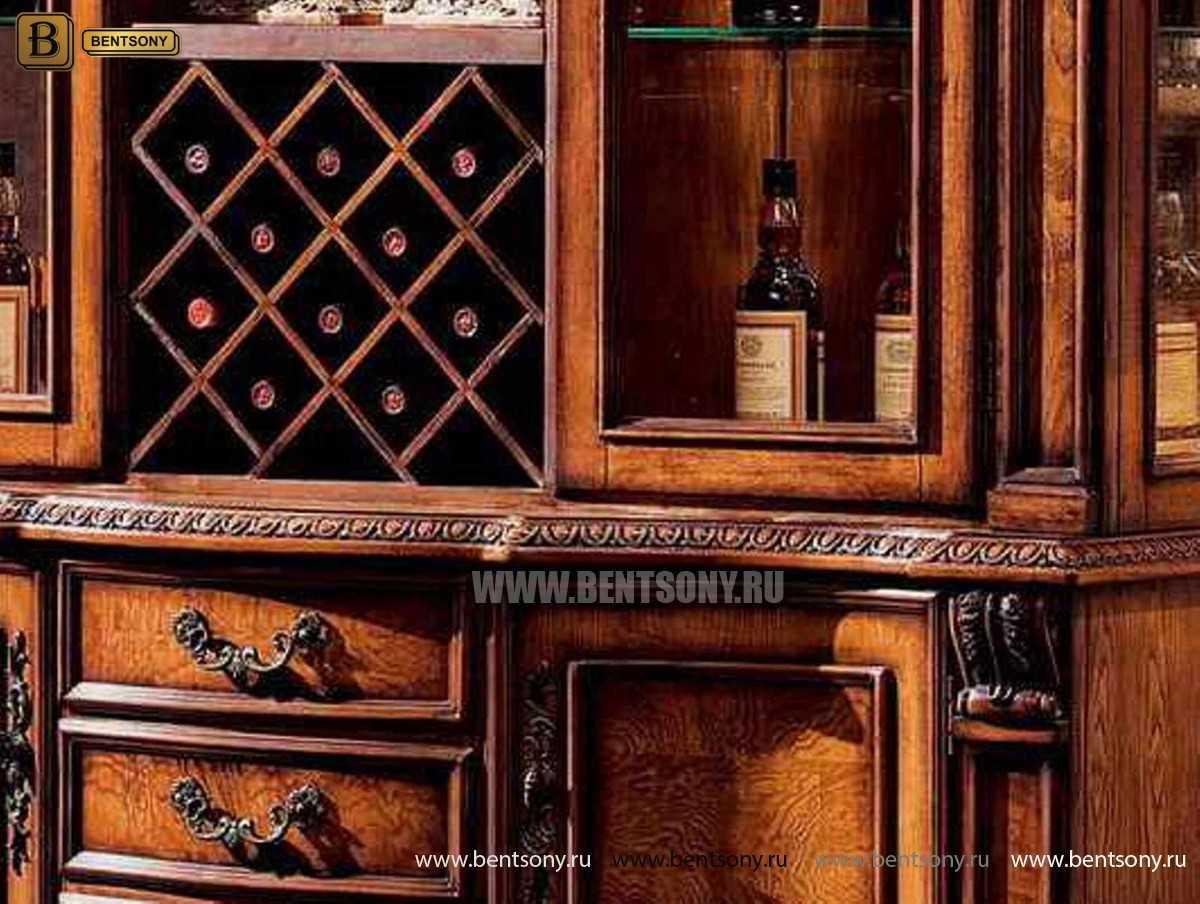 Барный шкаф 3-х дверный Монтана (Классика, массив дерева) в СПб