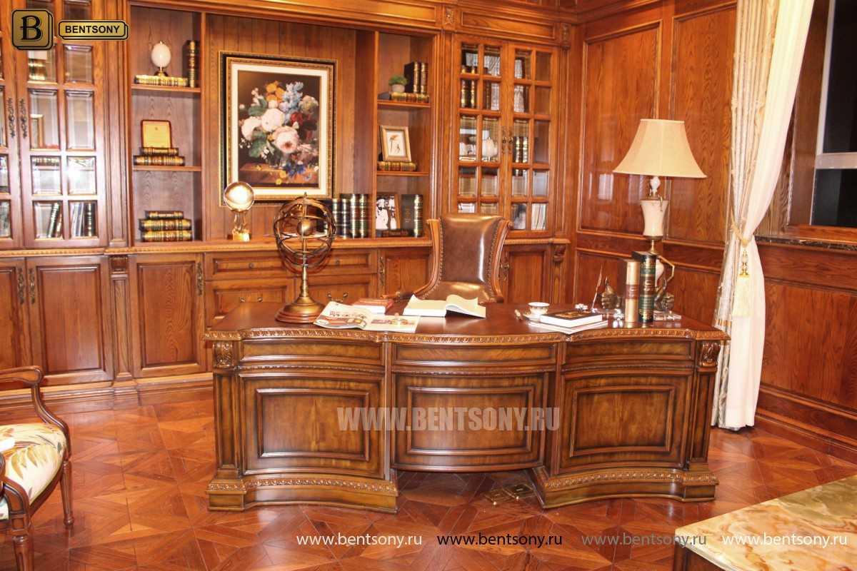 Письменный стол Монтана большой для кабинета (классика, массив дерева) каталог мебели с ценами