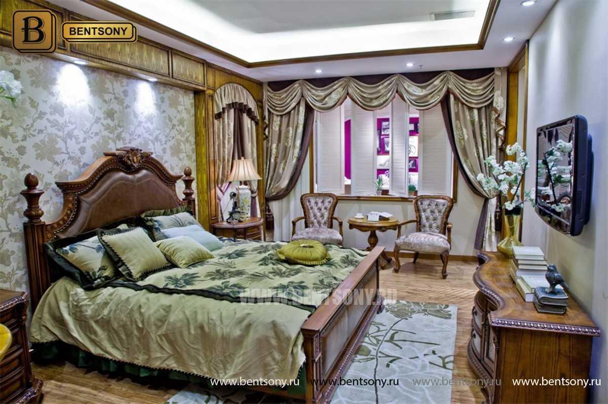 Кровать Монтана B (Классика, массив дерева, кожа) для загородного дома
