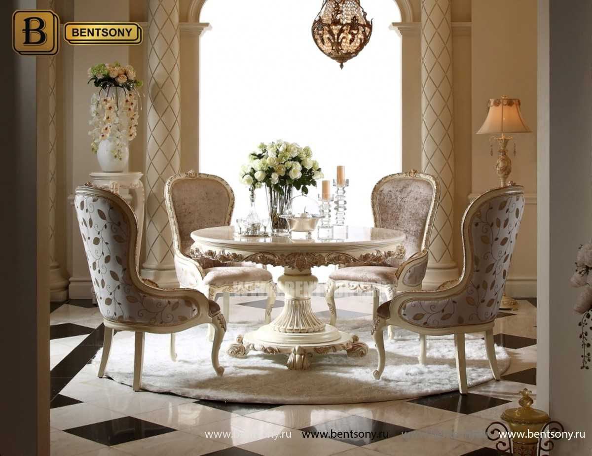 Обеденный стол Амадео 02 (Круглый, Мрамор) для дома