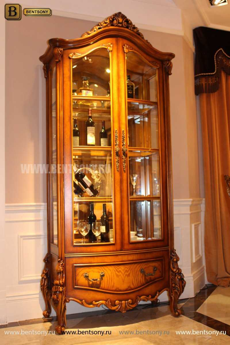 Витрина 2-х дверная Дакота (Классика, массив дерева) каталог мебели с ценами