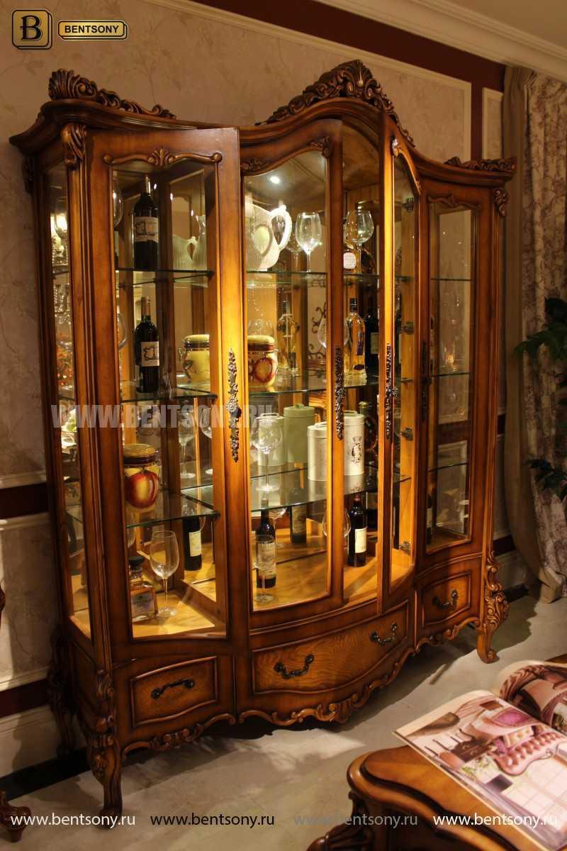 Витрина 4-х дверная Дакота (Массив дерева, классика) купить в СПб