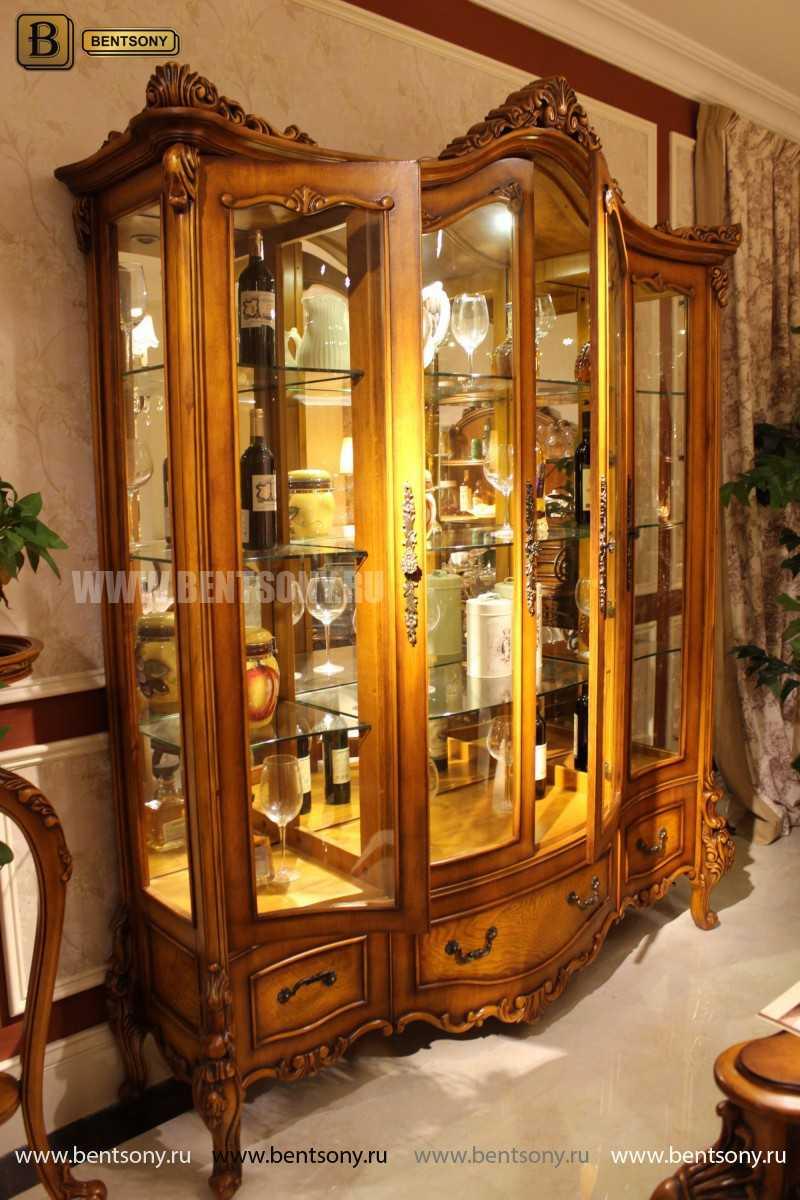 Витрина 4-х дверная Дакота (Массив дерева, классика) каталог