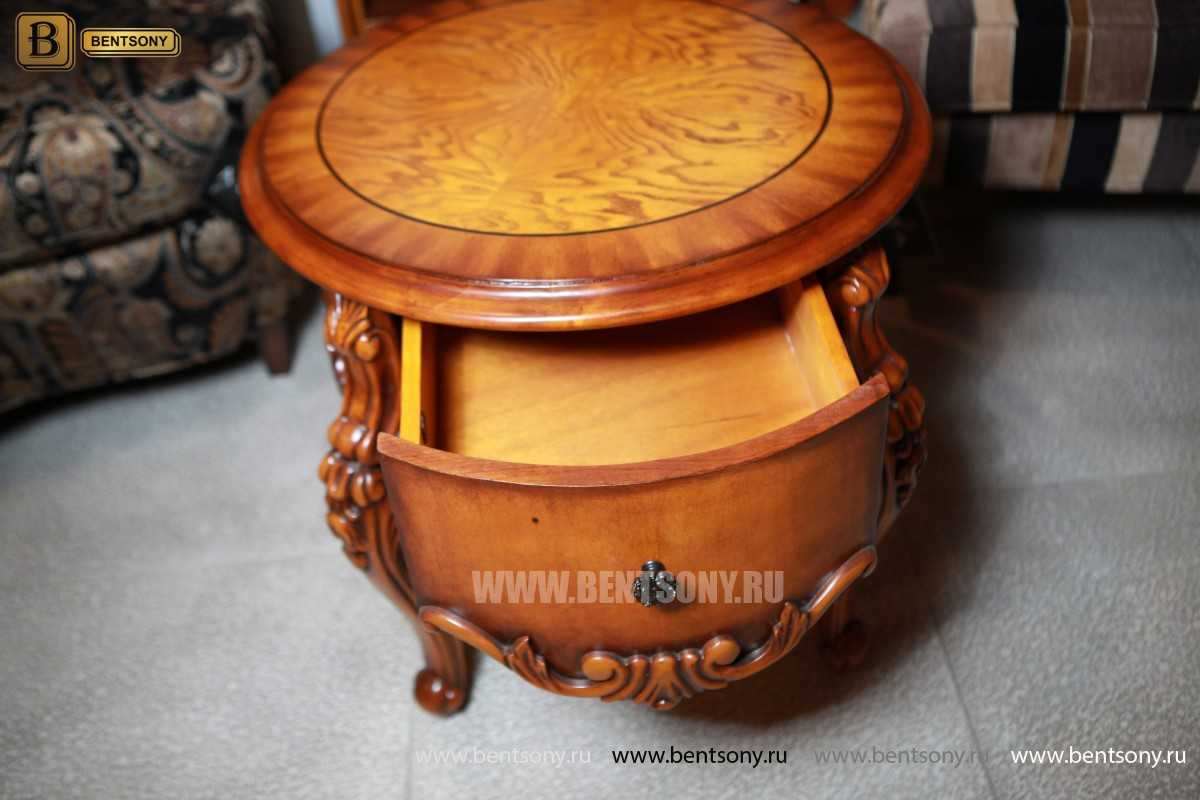 Чайный столик круглый Дакота (Классика, массив дерева) в интерьере