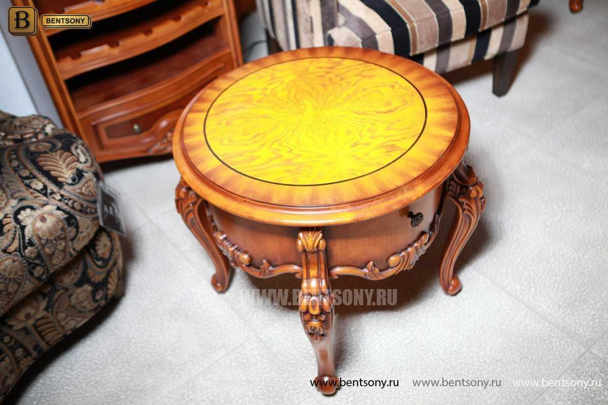 Чайный столик круглый Дакота (Классика, массив дерева) для загородного дома