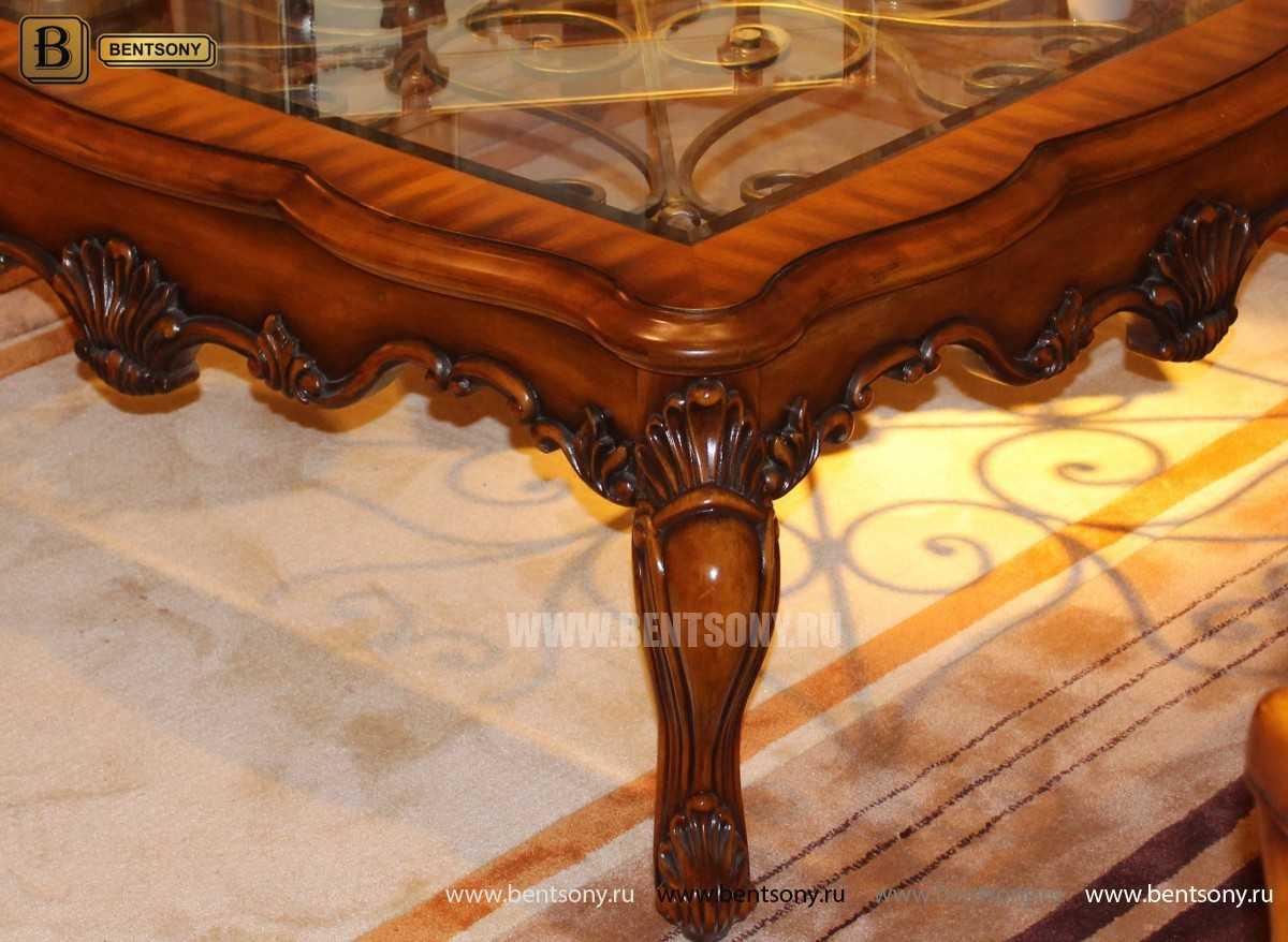 Стол Журнальный Прямоугольный Дакота А (Стекло, массив дерева) для загородного дома