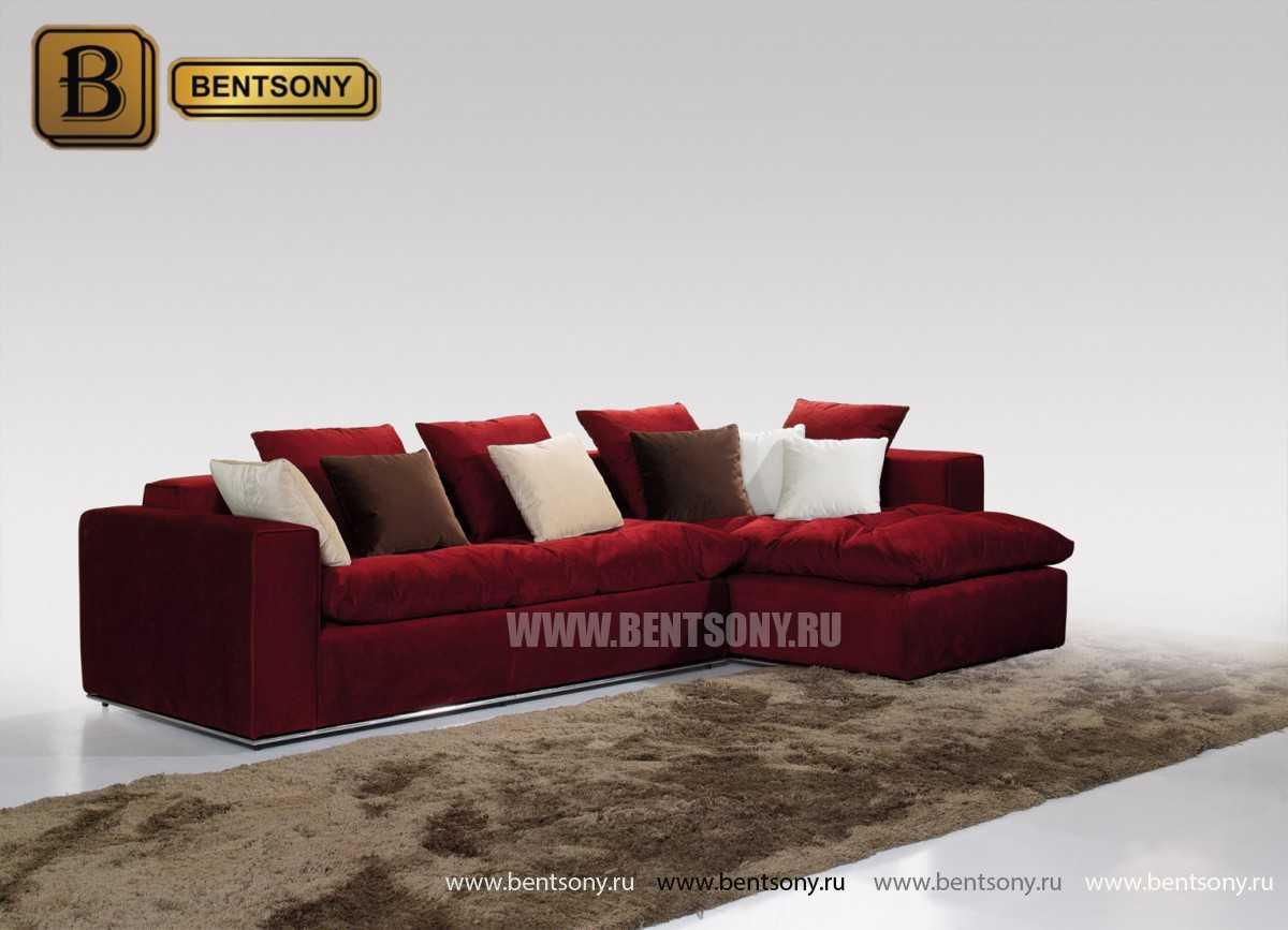 Угловой диван Бениамино с шезлонгом красный