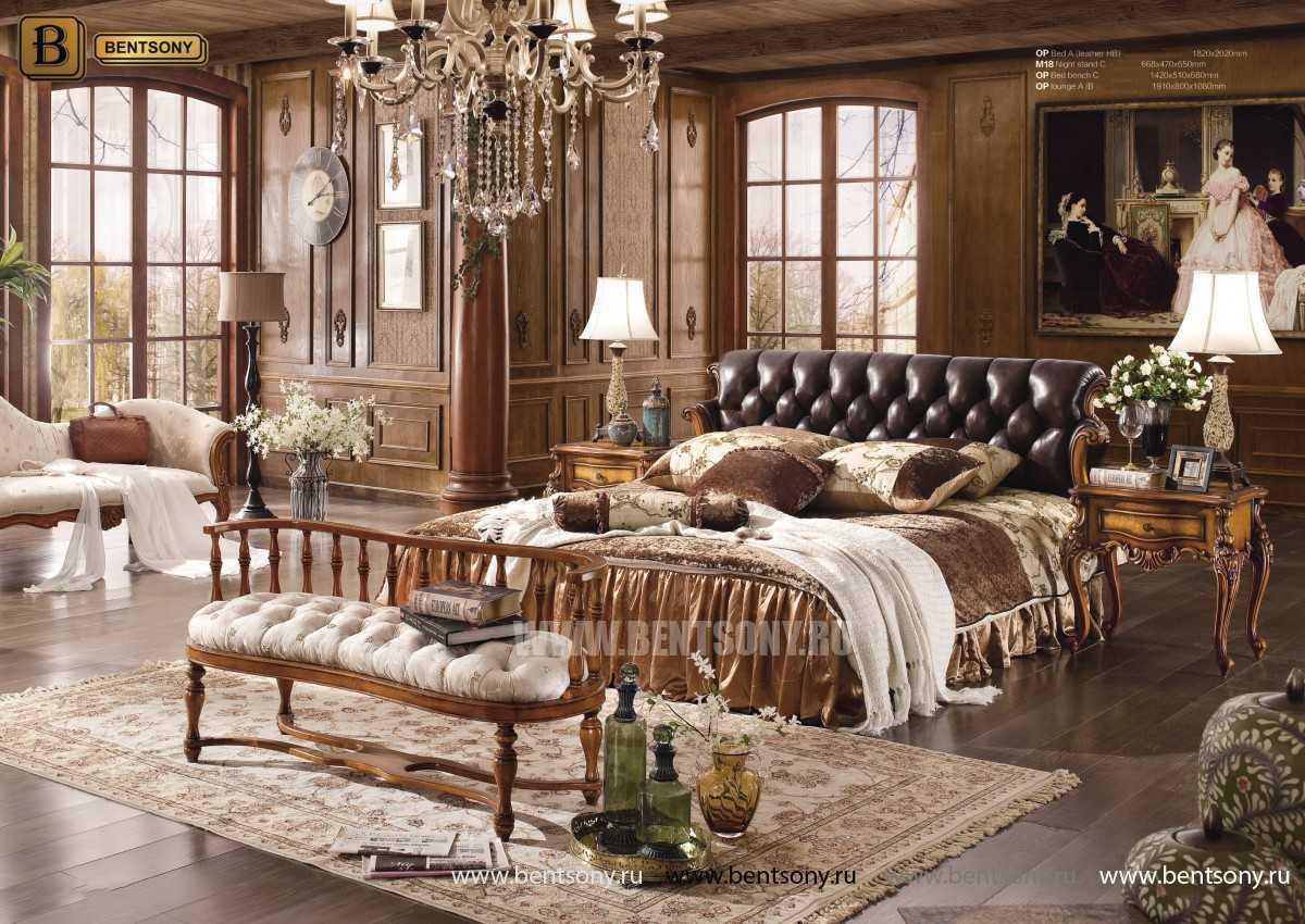 Кровать Дакота-F (Натуральная кожа, массив дерева) для загородного дома