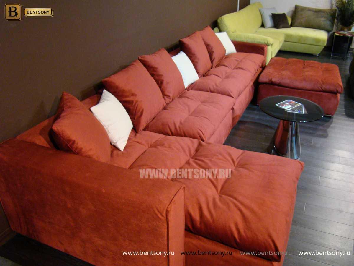 Ткань Красный велюр диван Бениамино