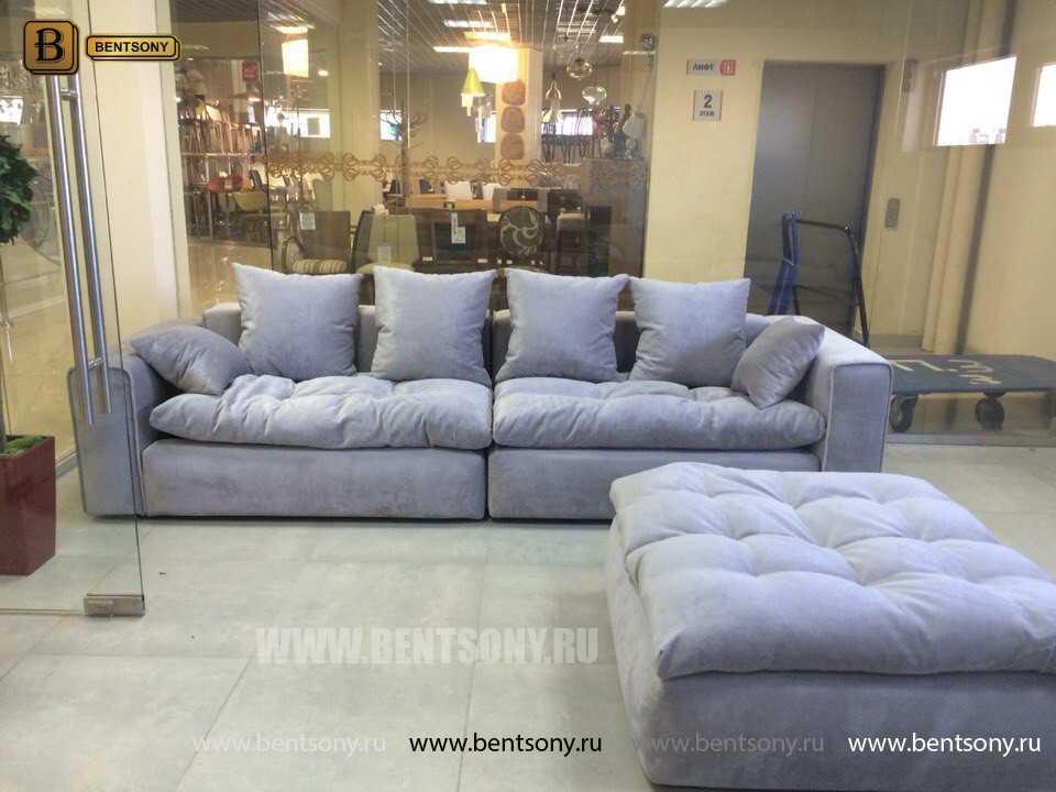 купить мягкий прямой диван с пуфом Бениамино