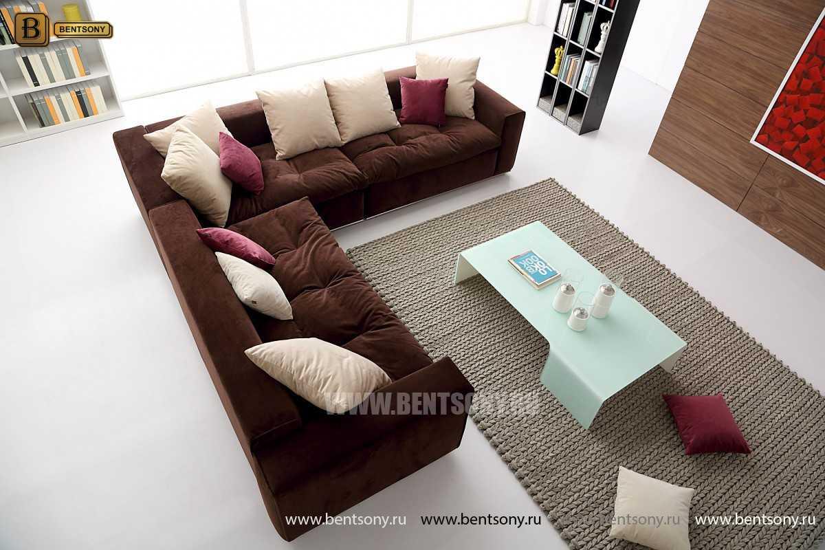 Коричневый угловой диван Бениамино
