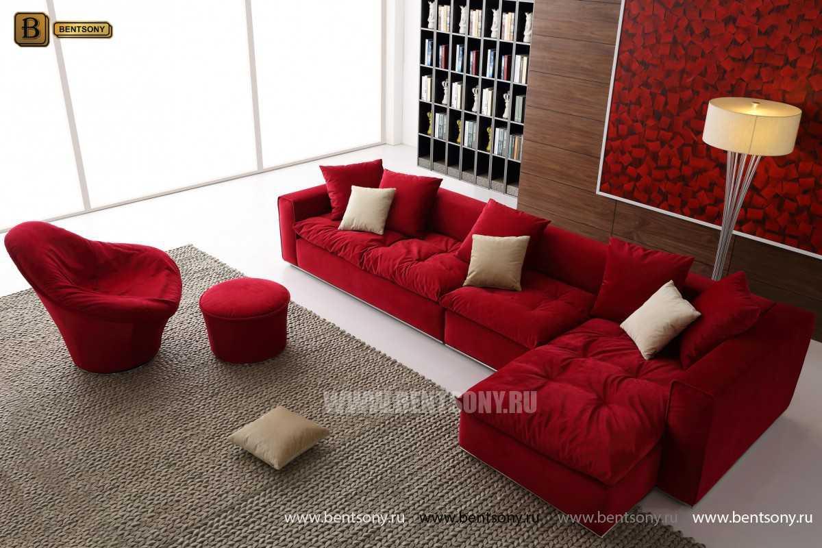 Красный цвет диван Бениамино угловой