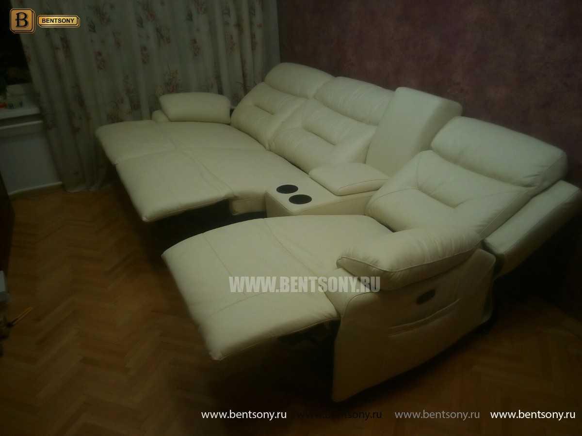 купить кожаный прямой диван Амелия с Реклайнерами